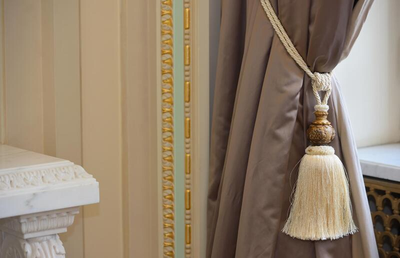 a curtain with tassel